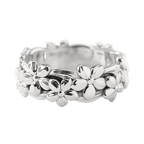Buyanputra Charm Daisy Flower Metal Women Ring Engagement Finger Ring size US 7 (Silver)