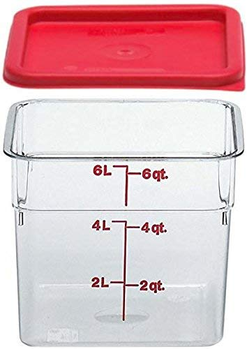 Cambro SFC6451 Li 6SFSCW135 Camsquare Food Container, 6-Quart, Polycarbonate, Clear, NSF with Lid, 6 Qt