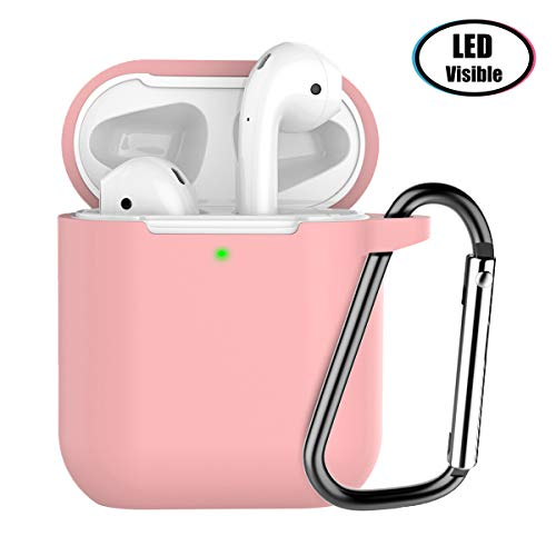 AirPods 2 Case,HARABI Compatible for AirPods Case Shockproof Protective Silicone Case Cover[Front LED Visible] with Anti-Lost Keychain for AirPods Charging Case 2 (Pink)