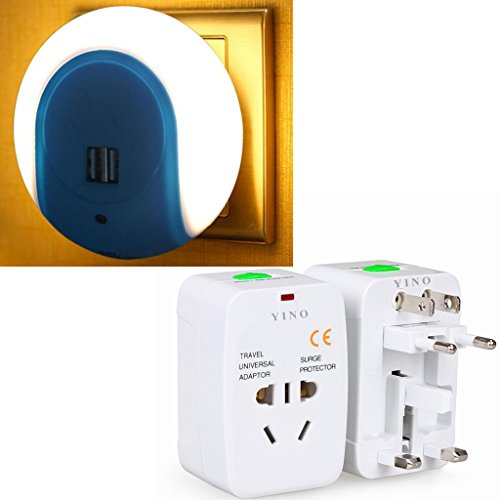 YINO LED Night Light Plug-and-Play Automatic Wall Lights with Dusk to Dawn Sensor and Dual USB Ports,Come with A Worldwide Travel Universal Adaptor (Blue) by YINO