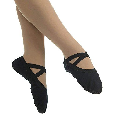 Danzcue Adult Canvas Elastic Split Sole Ballet Sliper Black qMlVY7z