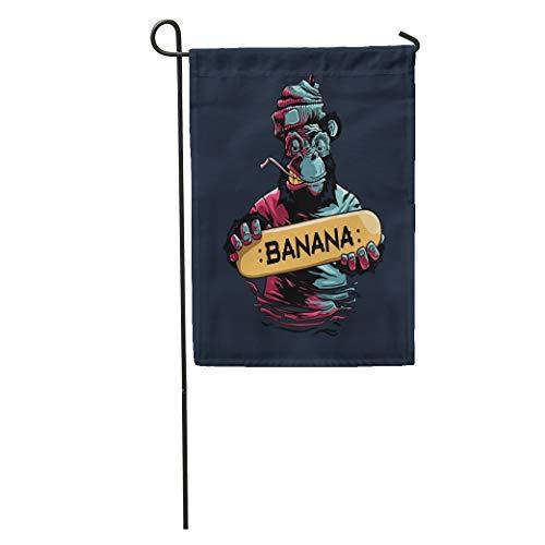 Semtomn Garden Flag Monkey Banana Skateboard Cartoon Gorilla Skater Activity Animal Ape Board Home Yard House Decor Barnner Outdoor Stand 28x40 Inches Flag (Ape Skate)