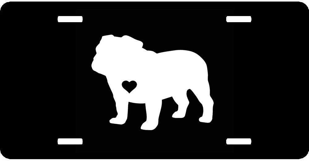 URCustomPro Adopt Material English Bulldog Heart Silhouette Decorative License Plates Aluminum Car Plate Humor Funny Car Tag Sign Metal Auto Front License Plate Cover