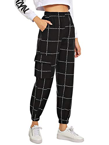 Plaid Cargo Black - Milumia Women's Pocket Decoration Letter Print Elastic Waist Carrot Cargo Loose Pants Crop Black M