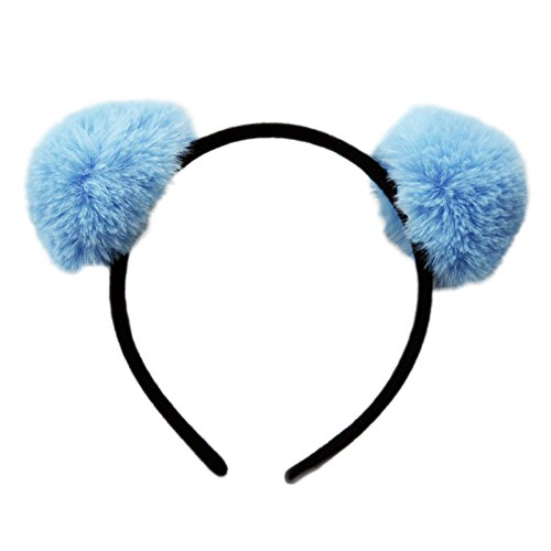 Mwfus Women Girls Soft Rabbit Fur Pompom Ball Headband Cosplay Headpiece Hairband
