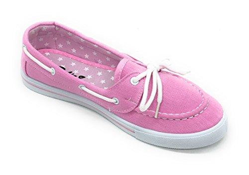 Blue Berry EASY21 Canvas Schnürschuh Flacher Slip on Boot Bequemer Toe Sneaker Tennisschuh Rosa