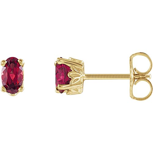 FB Jewels 14K Yellow Gold Set Mozambique Garnet 05.00X03.00 mm Pair Polished Oval Mozambique Garnet Earrings With Backs -