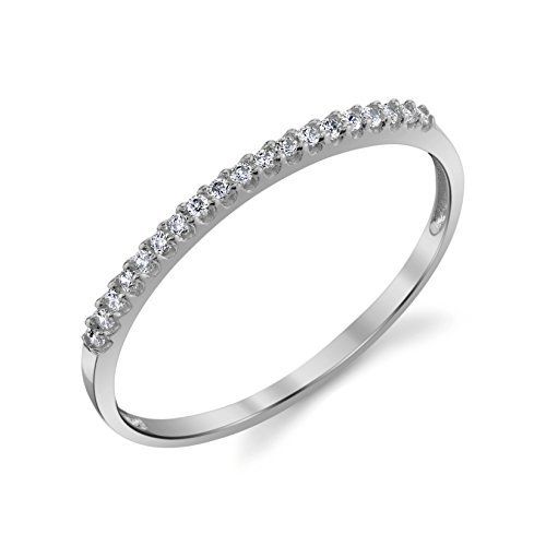 10k Gold Anniversary Ring (10k White Gold Lightweight Dainty CZ Wedding Stackable Band Size 5.5)