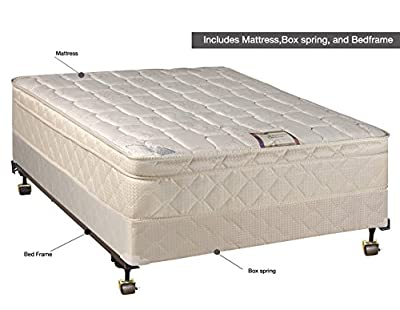 Continental Sleep, Plush 10-inch Innerspring Eurotop Mattress and Traditional Box Spring / Foundation Set with Frame, No Assembly Required, Full XL Size