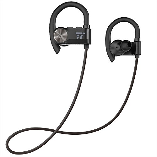 TaoTronics Wireless Earphones with Adjustable Earhooks for Extra Stability (IPX6 Waterproof & Sweat-Proof, AptX Lossless Sound, 8 Hours Playtime)