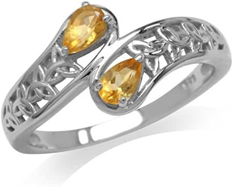 Natural Citrine White Gold Plated 925 Sterling Silver Triquetra Celtic Knot Bypass Ring