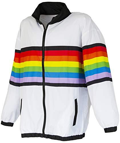 Funny Guy Mugs Rainbow 80s & 90s Retro Windbreaker, Medium