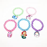 Annilubaby Unicorn Bracelets for Toddler Kids Girls Mermaid Jewelry Colorful Owl Beaded Bracelets Great Party Favors Set
