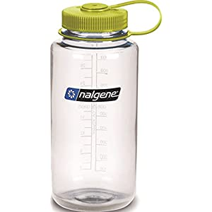 Nalgene Tritan Wide Mouth BPA-Free Water Bottle, Clear w/ Green Cap, 32-Ounces