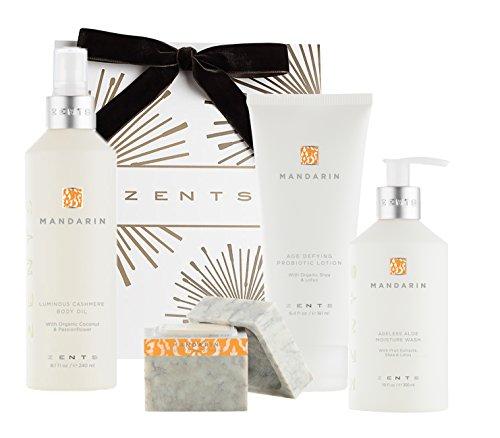 Deluxe Body Wash Vanilla Citrus - Zents Deluxe Bath Gift Set, Mandarin, Ageless Moisture Wash, Concreta, Lotion, and Body Oil, 4 - Piece Set