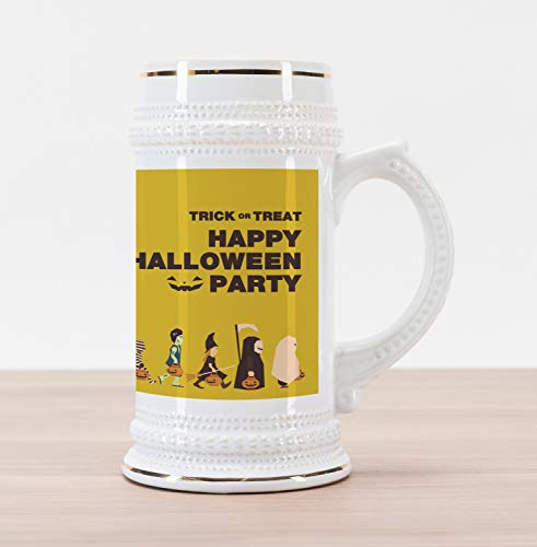 Lunarable Halloween Beer Stein Mug, Trick or Treat Halloween Party Pirate Clown Dracula Mummy Frankenstein Witch, Traditional Style Decorative Printed Ceramic Large Beer Mug Stein, Multicolor