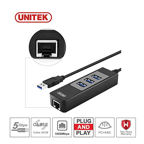 3-Port USB 3.0 Hub Gigabit Ethernet 1000Mbps RJ45 LAN Network Adapter PC