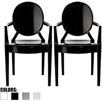 2xhome – Set of 2 Modern Ghost Chair Armchair with Arm Polycarbonate Plastic (Black)