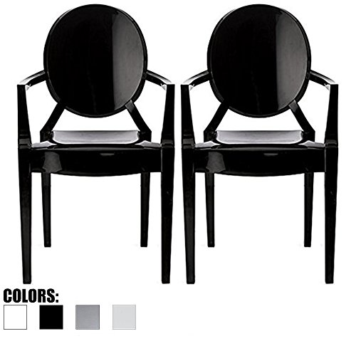 2xhome Set of 2 Modern Ghost Chair Armchair with Arm Polycarbonate Plastic (Black)