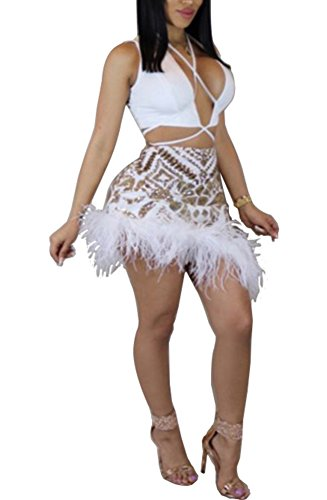 - Blansdi Women Sexy Clubwear 2 Piece Sets Outfits Sequin Plunge V Neck Crop Tops Feather Mini Dress Skirt