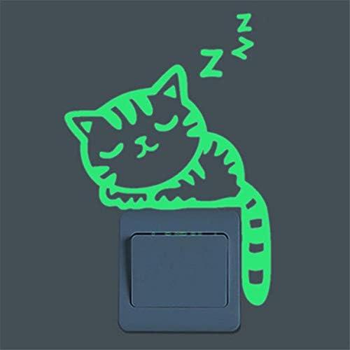 Hukz Leuchtsticker Kinderzimmer Wandaufkleber Wandsticker Nette Kreative K/ätzchen Katze Glow Switch Wandtattoo Home Dekoration A1