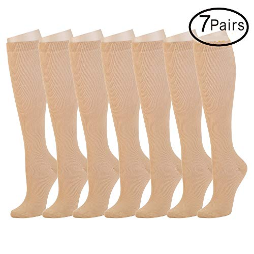 7 Pairs Compression Socks For Women and Men -- Best Medical, Nursing, Athletic, Edema, Diabetic,Varicose Veins,Maternity,Travel,Flight Socks ,Shin Splints - Below Knee High (Small/medium, Nude)