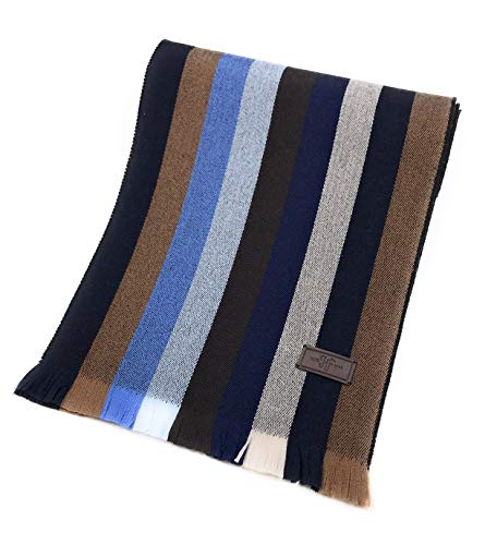 Men's Wool Scarf - Navy and Brown Multi Strpe, 100% Australian Merino Wool, 72 inches x 10 inches, by Hickey Freeman