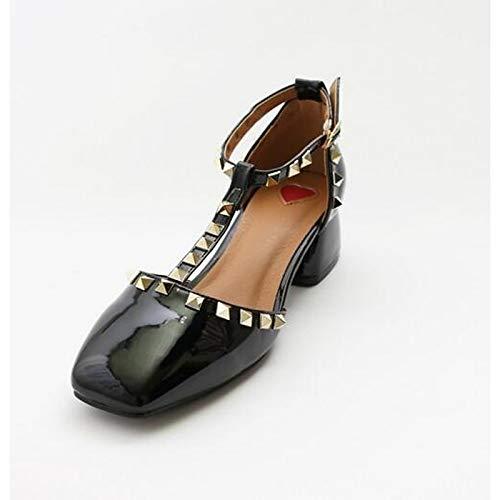 ZHZNVX Zapatos de Mujer PU (Poliuretano) Tacones Confort Verano Tacón Grueso Negro/Rosa Black