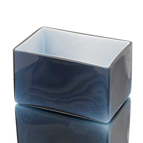 Richland Marlee Square Vase Centerpiece Colored Glass Navy Blue -