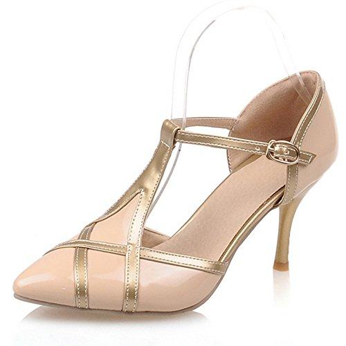 Heel Pointed Fashion Heel Pump Stiletto Toe T Womens Contrast Apricot Color strap pUdd4qwnR