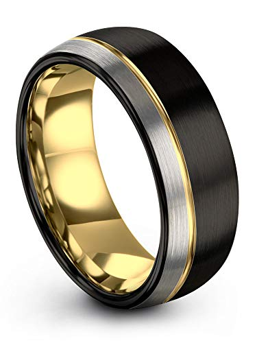 (Midnight Rose Collection Tungsten Wedding Band Ring 8mm for Men Women 18k Yellow Gold Plated Dome Off Set Line Black Grey Half Brushed Polished Size 10.5)
