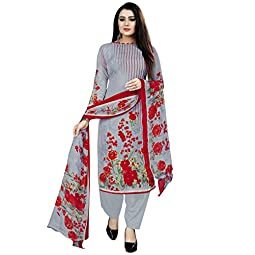 Rajnandini Women's Grey Cotton Printed Unstitched Salwar Suit Material With Printed Dupatta (Free Size)
