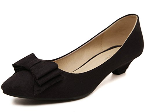Aisun Womens Elegant Comfy Sweet Bowknot Low Cut Pumps Shoes Black wMTl7O2
