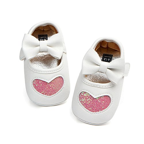 Antheron Baby Girl Moccasins - Infant Princess Sparkly Premium Lightweight Soft Sole Toddler First Walker Newborn Crib Shoes(Pink -