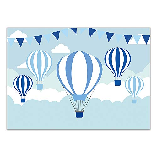 Allenjoy 7x5ft Hot Air Balloons Party Backdrop for Boys Baby Shower Blue Sky Pilot Themed Fiesta Decorations Kids Birthday Event Photography Background Dessert Table Suplies Photo Studio Booth Props