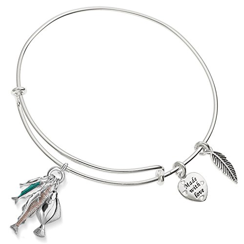 Angel Fish Bracelet - Enni of York Angel Seaside Fish Charm Expandable Silver-Tone Bangle Bracelet