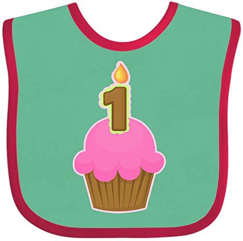 Inktastic - Pink 1st Birthday Cupcake Baby Bib Green and Red 6266