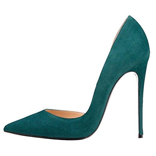 MERUMOTE - Zapatos de vestir de Material Sintético para mujer 46 Green-Faux Wildleder