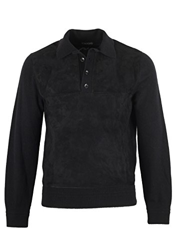 CL - Tom Ford Black Suede Long Sleeve Polo Size 48/38R U.S. In - Ford Tom Polo