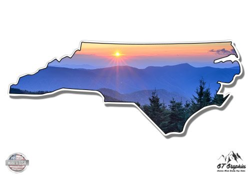"GT Graphics North Carolina Smoky Mountains Sunrise - 3"" Vinyl Sticker - for Car Laptop I-Pad Phone Helmet Hard Hat - Waterproof Decal"