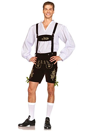 [Leg Avenue Men's 3 Piece Oktoberfest Lederhosen Costume, Brown/White, Medium] (Classic Halloween Costumes 2016)