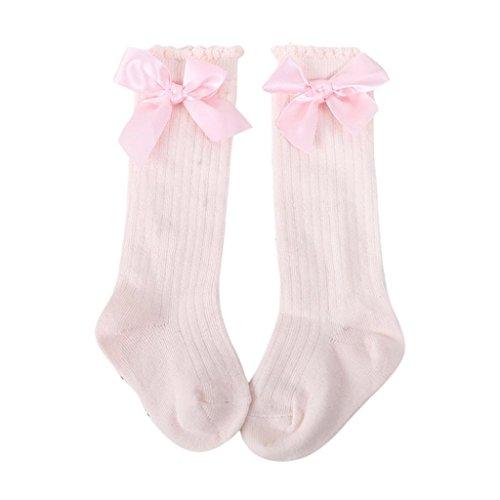 Orange Bow Socks - Socks Thinktoo Socks for girls boys kids baby Toddlers Solid Big Bow Knee High Long Soft Cotton Lace baby Socks Kids Unisex (Pink, M)