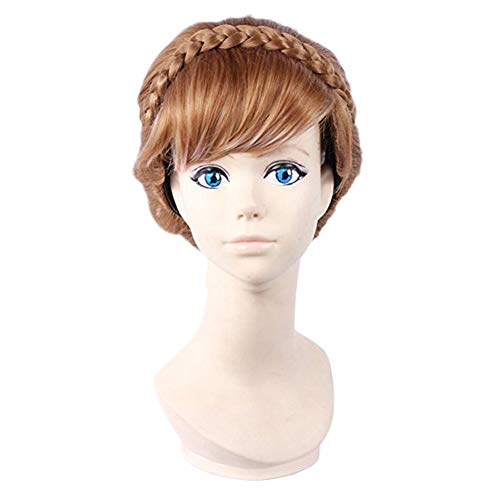 Anogol Free Hair Cap+ for Adults for Kids Halloween Wig Party Wigs Braid Hair Brown Updo Wig