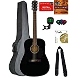Fender CD-60S Dreadnought Acoustic Guitar - Black Bundle with Gig Bag, Tuner, Strap, Strings, Picks, Austin Bazaar Instructional DVD, and Polishing Cloth