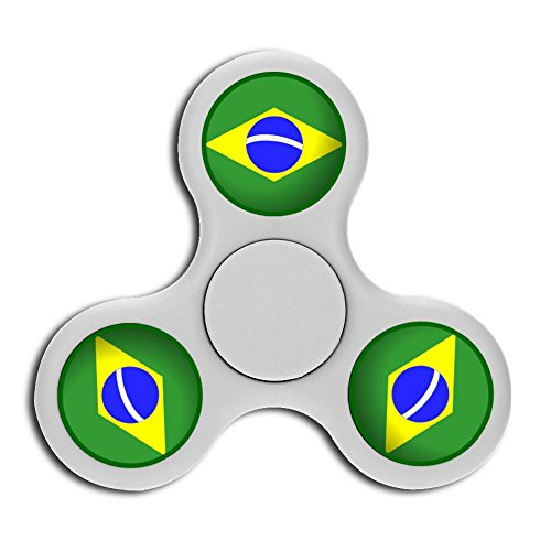 PFTGOD Brazil logo Fidget Spinner Stress Reduce High-end Toys Perfect Gyro White (Soccer Trophy Spinner)