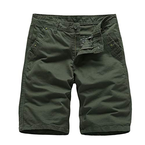 Mens Multi-Pocket Cargo Shorts Casual Slim Fit Cotton Solid Short Pants Summer Outdoor Camouflage Short (Army Green, 32)