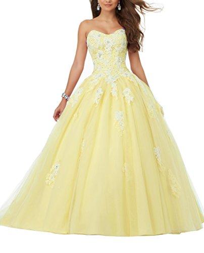 Eldecey Women's Sweetheart Lace Applique Sweet 16 Ball Gown Quinceanera Dress