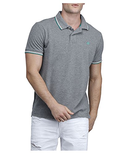 Aeropostale Mens Double Tipped Rugby Polo Shirt Grey ()