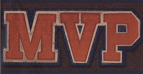 Varsity Roll (Sport Athlete MVP Varsity Dark Brown Wallpaper Border for Kids, Roll 15' x 6'')