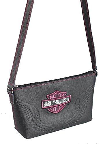 Harley-Davidson Women's Pink Bar & Shield Embroidered Crossbody Purse, Black (Harley Purses)